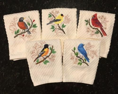 embroidered set birds cardinal oriole bluebird robin
