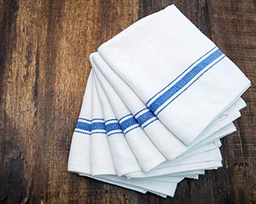 Cotton & Absorbent Kitchen Dish Cloths White with Blue Towels, for Use