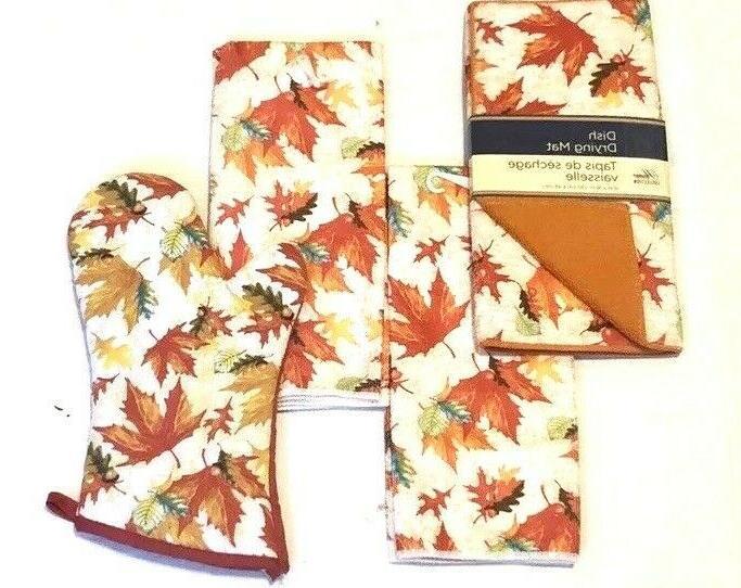 Fall Print Kitchen Hand Drying Mat Set of
