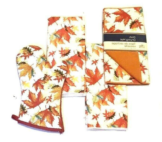 fall leafs pattern print hand towels dish