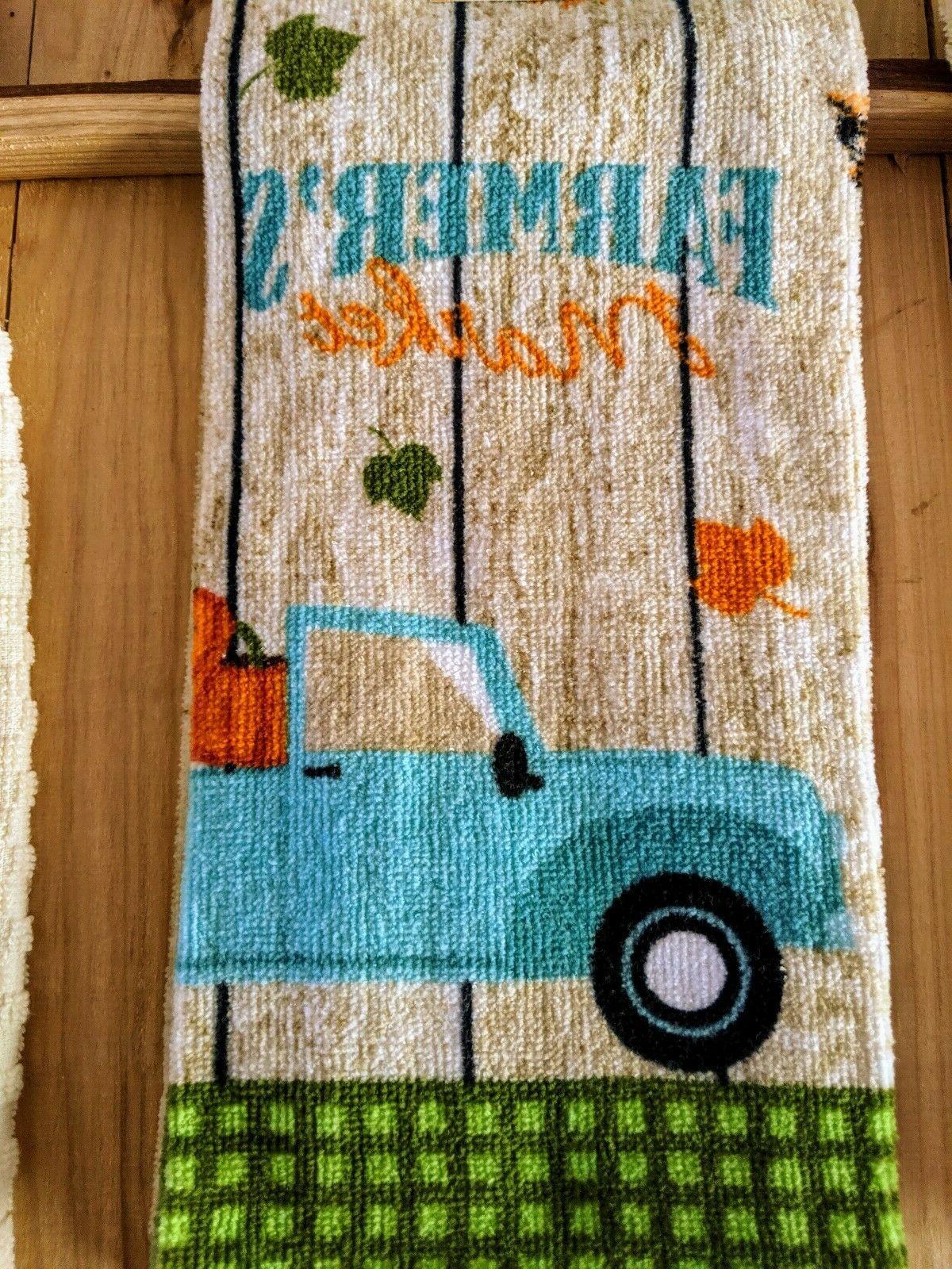 Farmers Market Dishtowel Set 4 Pc Potholder Fall Pumpkin Truck