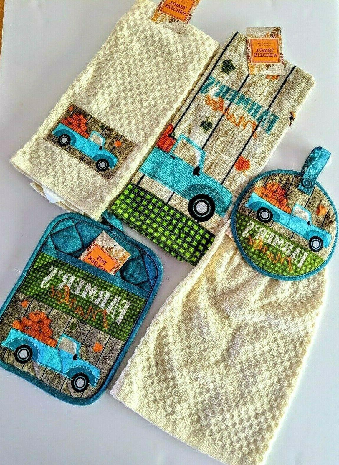 farmers market kitchen dishtowel set 4 pc