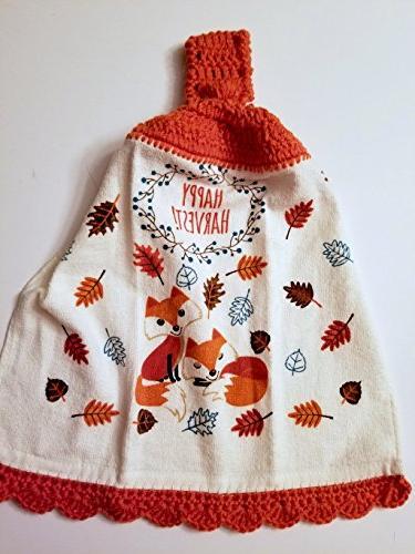 foxes crochet hanging kitchen towel