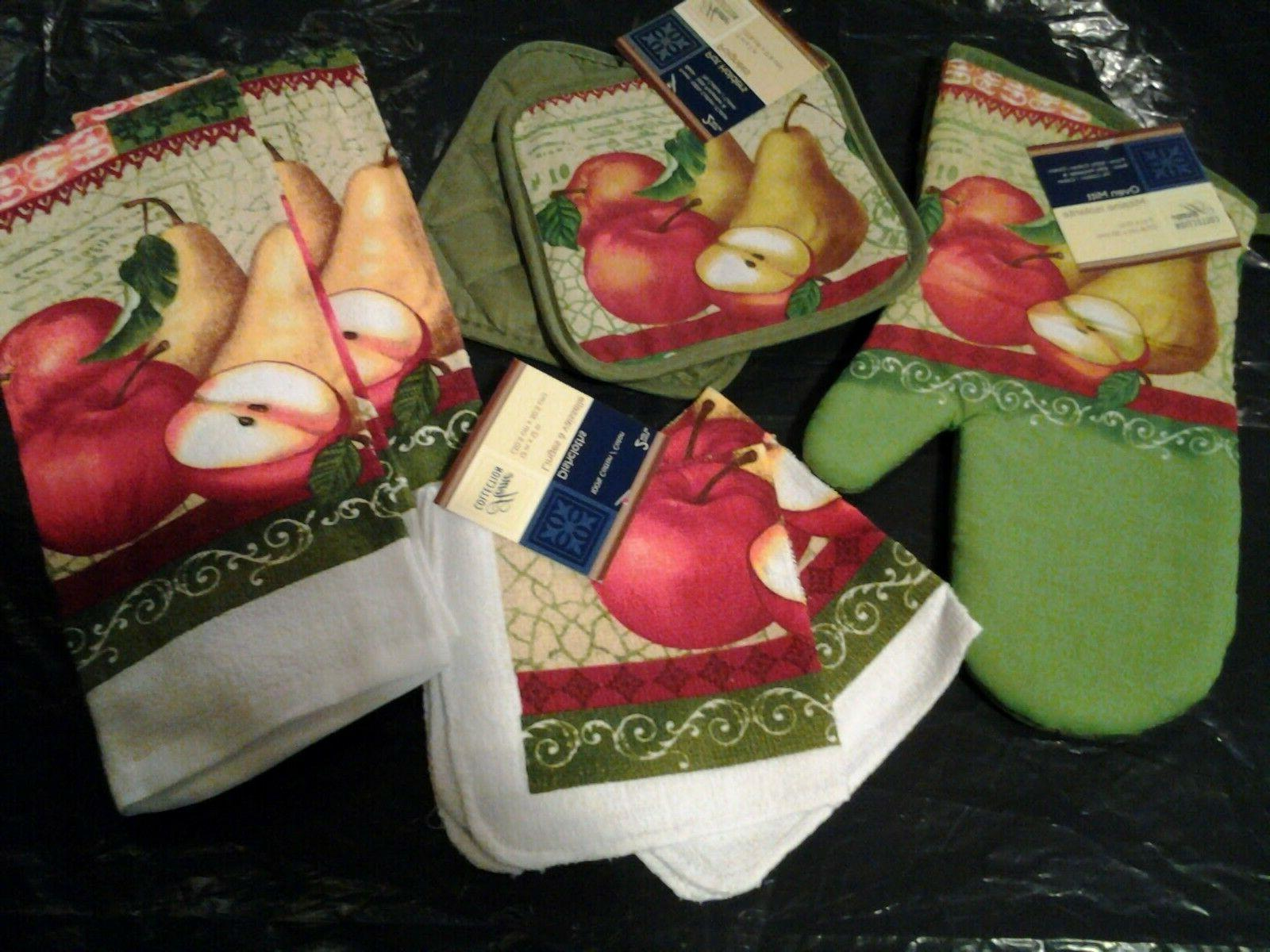 fruit 7 pc set kitchen towels potholders