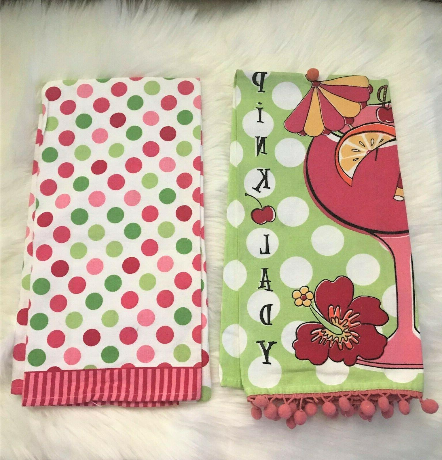 Ritz Full Kitchen Towels Pink Green 100%
