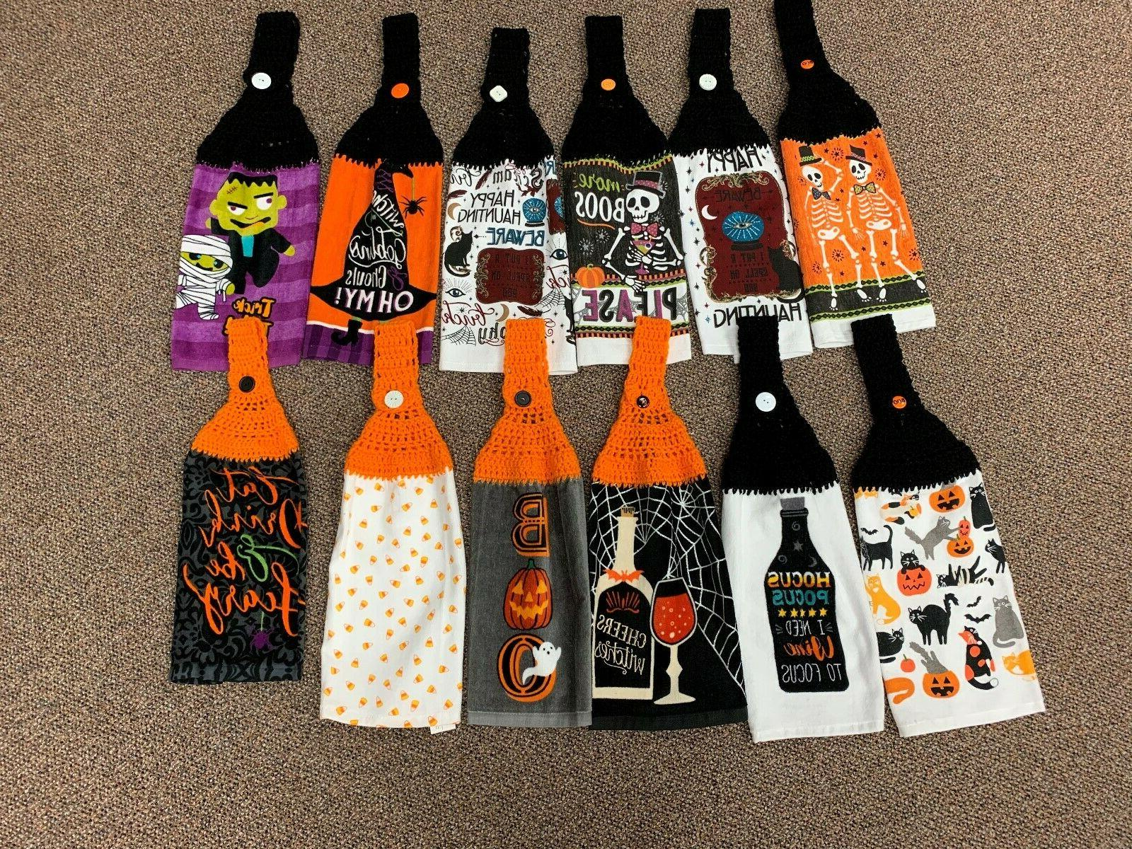halloween themed crochet hanging kitchen towels new