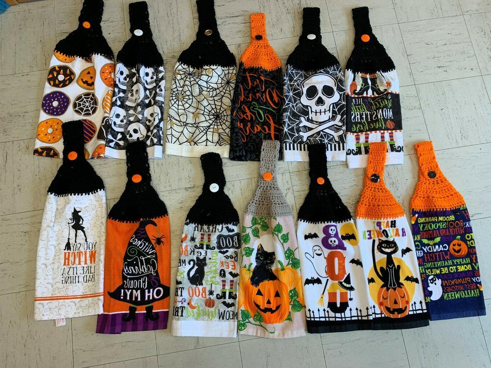 halloween themed hanging kitchen towels hand crochet