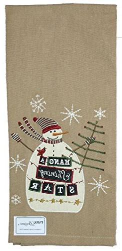 Hang A Shining Star Christmas Snowman Embroidered Applique D