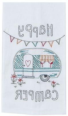 happy camper embroidered flour sack kitchen dish
