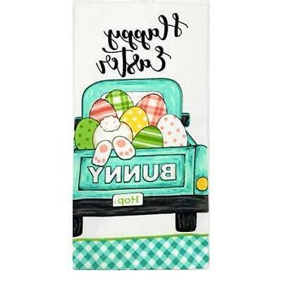 happy easter bunny truck kitchen towel