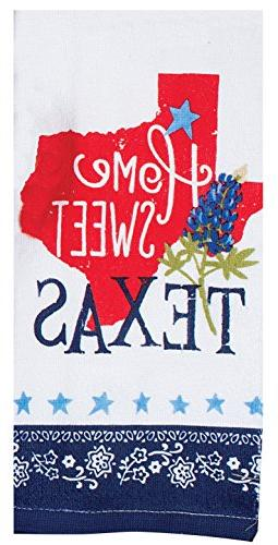 Kay Dee Home Sweet Texas Linen Tea & Pot Red White Blue Lone Star and 100% Cotton.