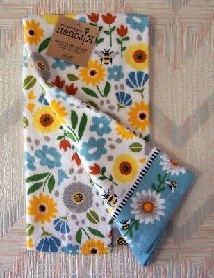 Honey Bees Flowers Towel Bee Pattern Kitchen Towel