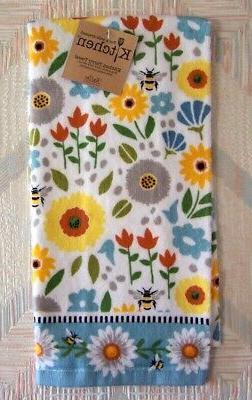 honey bees flowers terry towel garden bee