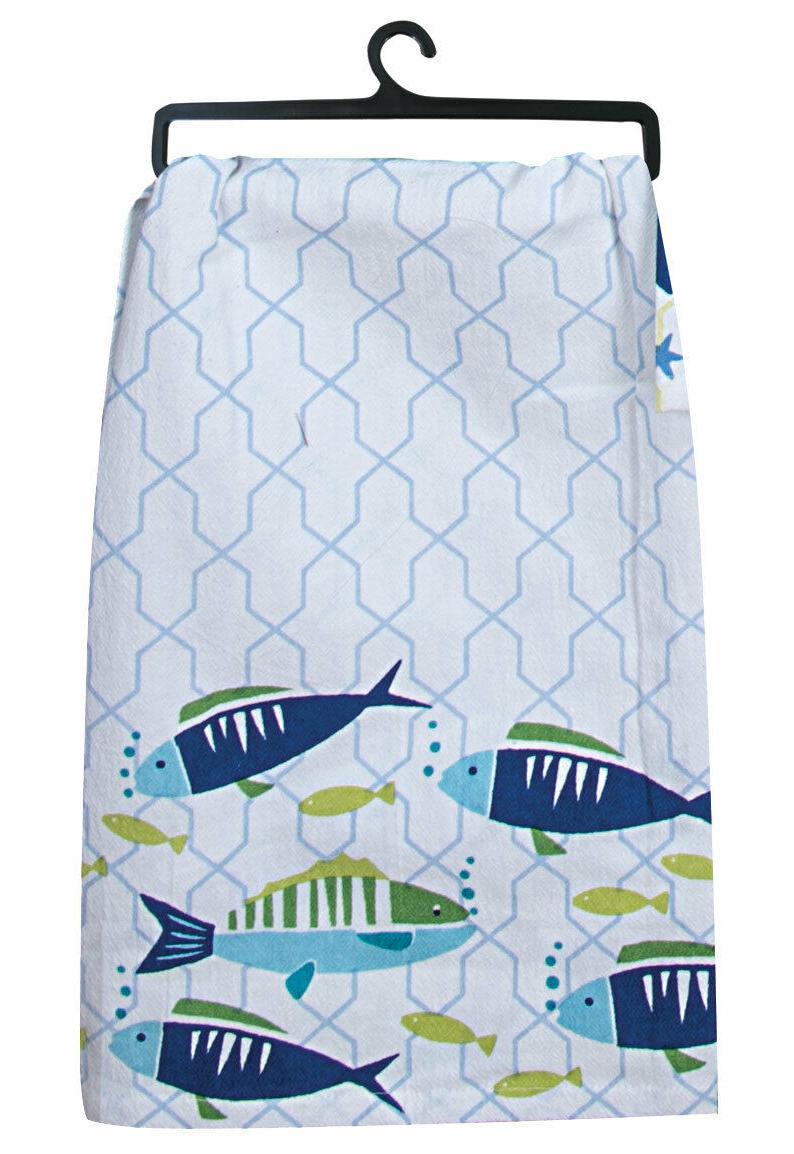 KAY DEE COASTAL BEACH HOUSE SALT WATER FISH FLOUR SACK TEA K