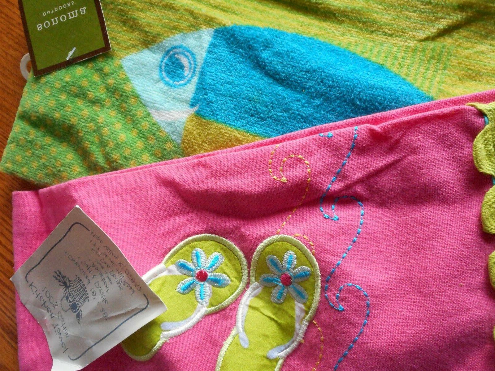 Kay Dee Set/2 Summer Flops Fish Towels Hand