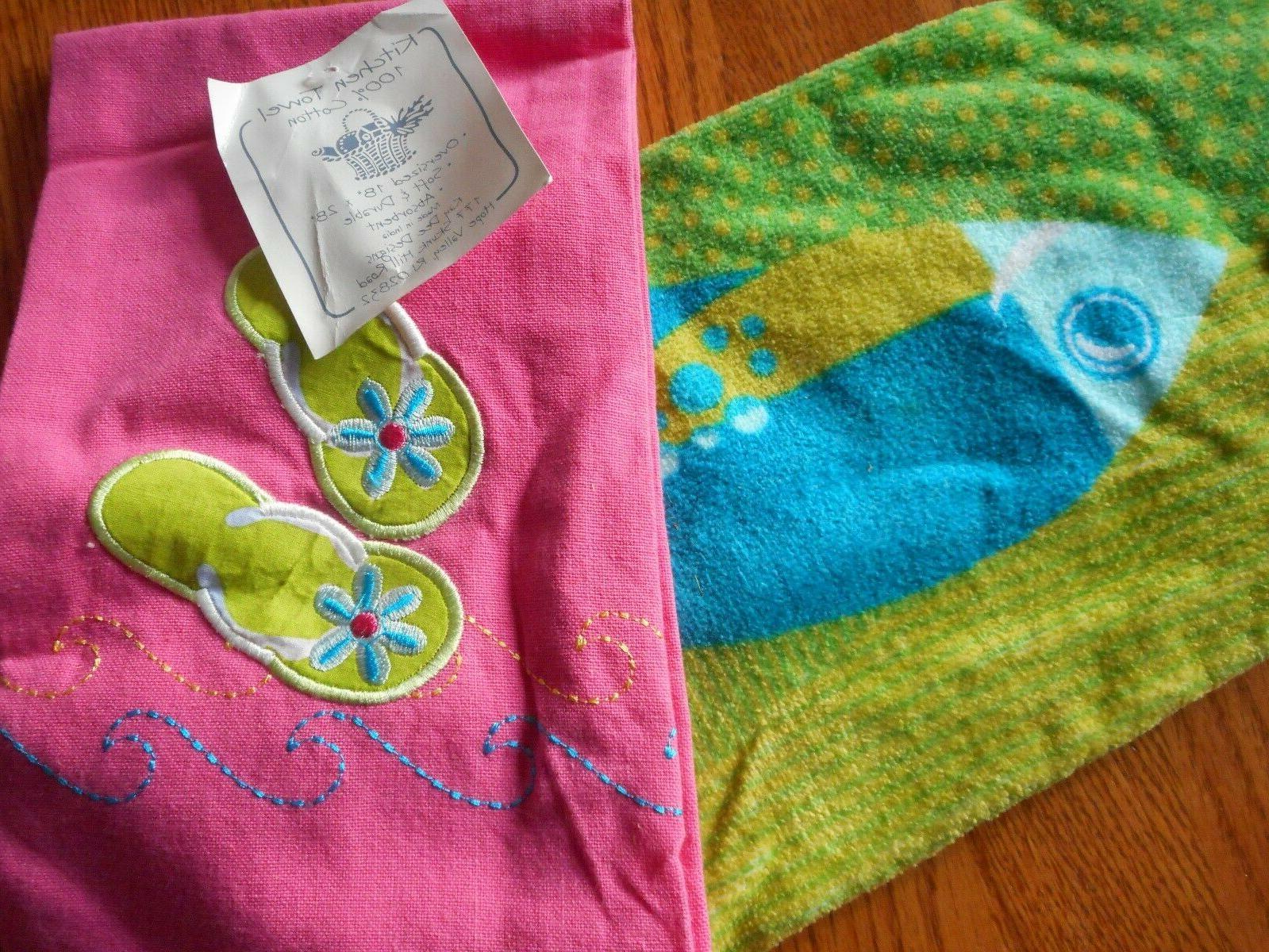 Kay Designs Set/2 Flip Fish Kitchen Hand Tea NEW
