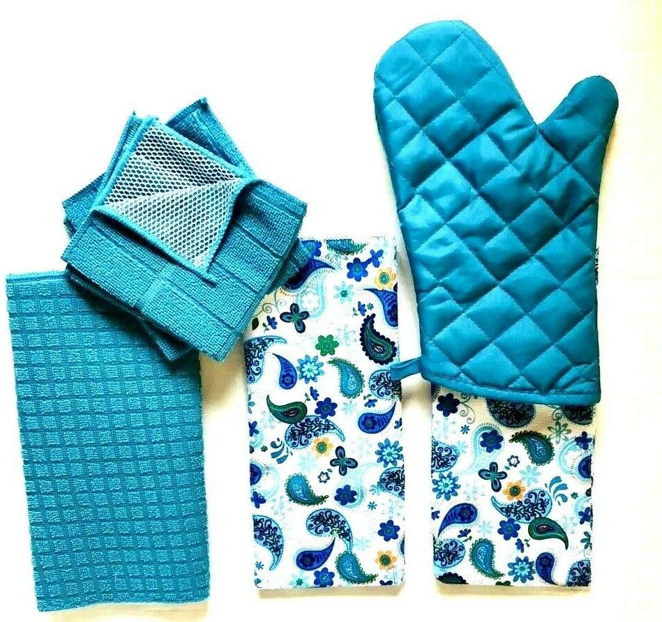 Kitchen 2 Decorative Hand Towels Oven Mat 2 Turquoise NWT