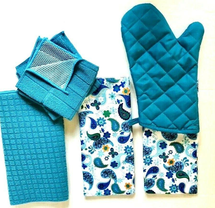 kitchen 2 decorative hand towels oven mitt