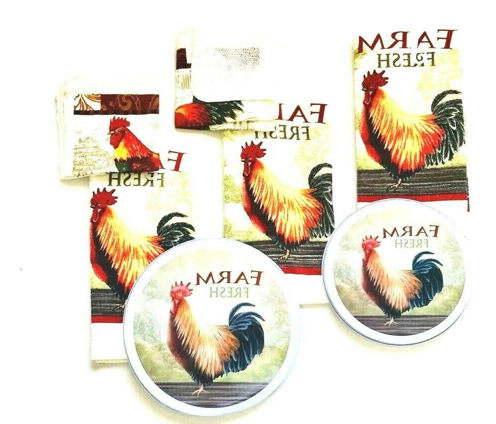 Kitchen 2 Hand Rooster Print Burner Cover Total