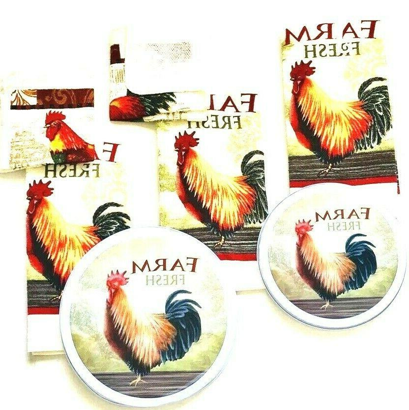 Kitchen Hand Towels Rooster Print Burner Cover Set Total NWT