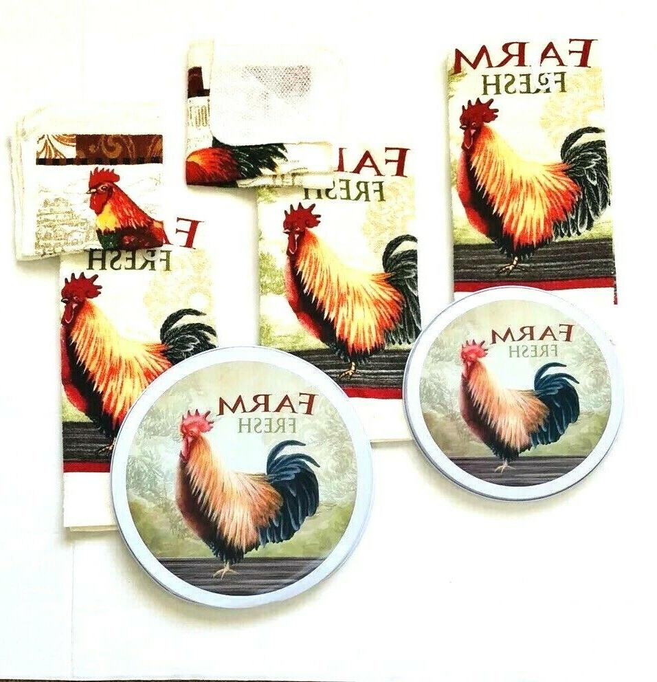 Kitchen 2 Dishcloths 3 Hand Towels Rooster Burner Total NWT