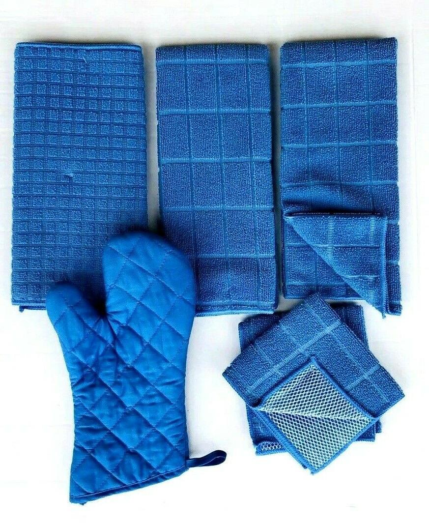 Kitchen 2 Hand 2 Dishcloths Drying Oven Blue Color Set 6