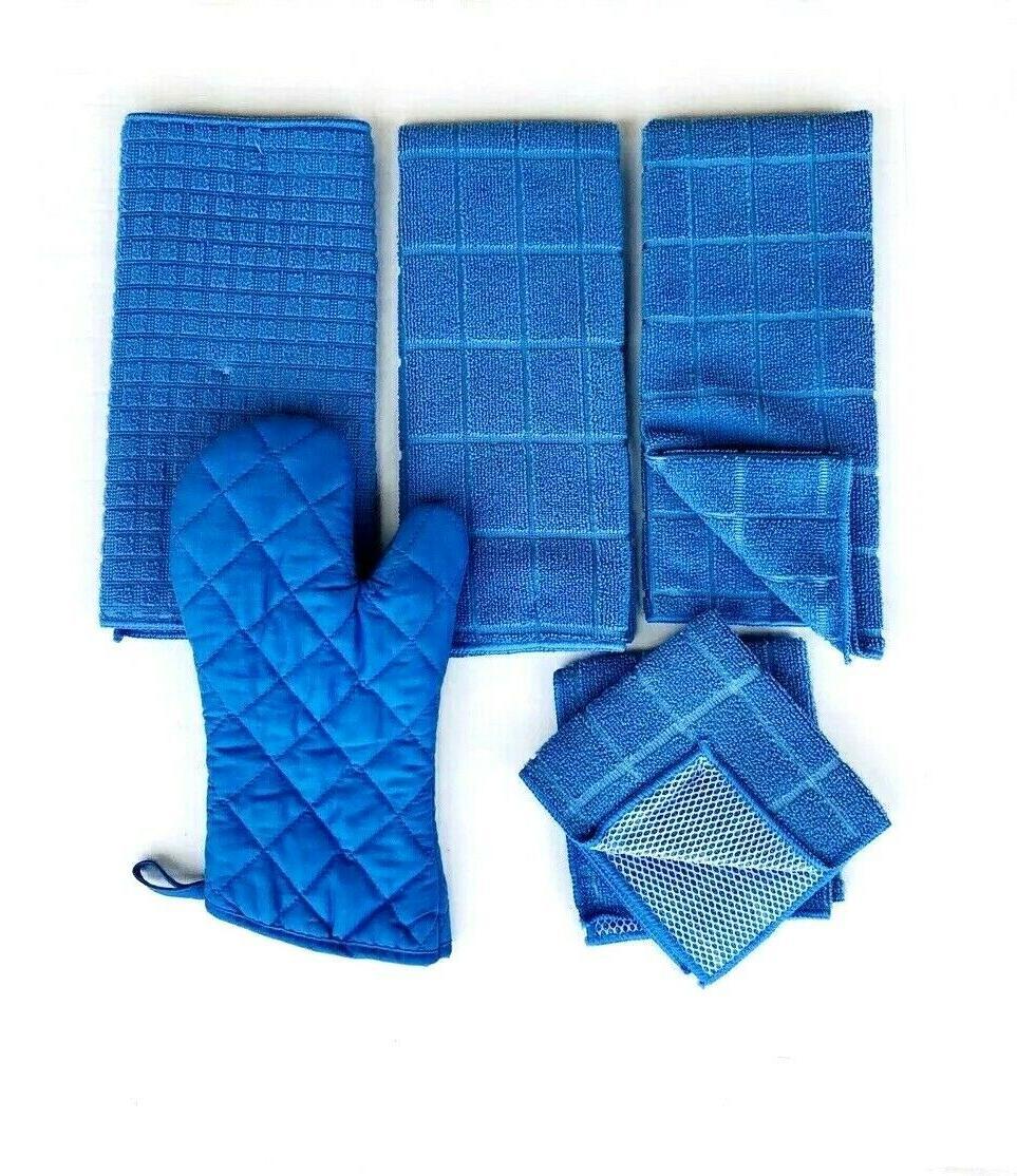Kitchen Hand Towels 2 Mat Oven Mitt Solid Blue Color Set 6