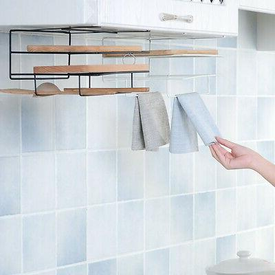 Kitchen Cabinet Hanging Iron Board Shelf Clean Towels Storage Racks