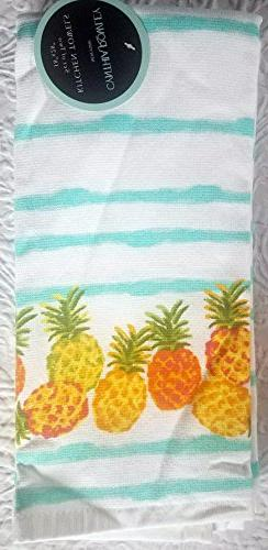 Cynthia Rowley set of 2 kitchen cotton towels small band of