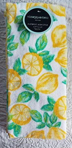 Cynthia Rowley Set of 2 kitchen cotton towels cut neon lemon