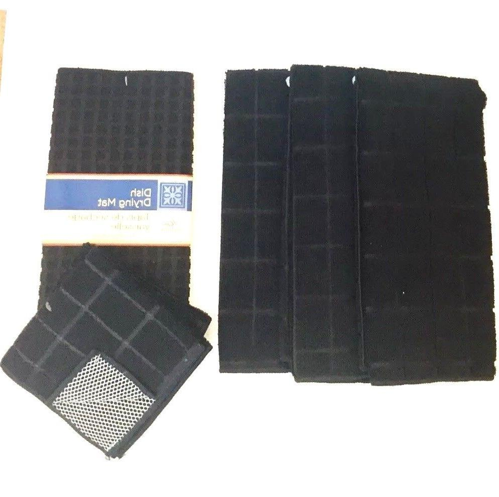Kitchen Dish Towels 2 New Solid Black