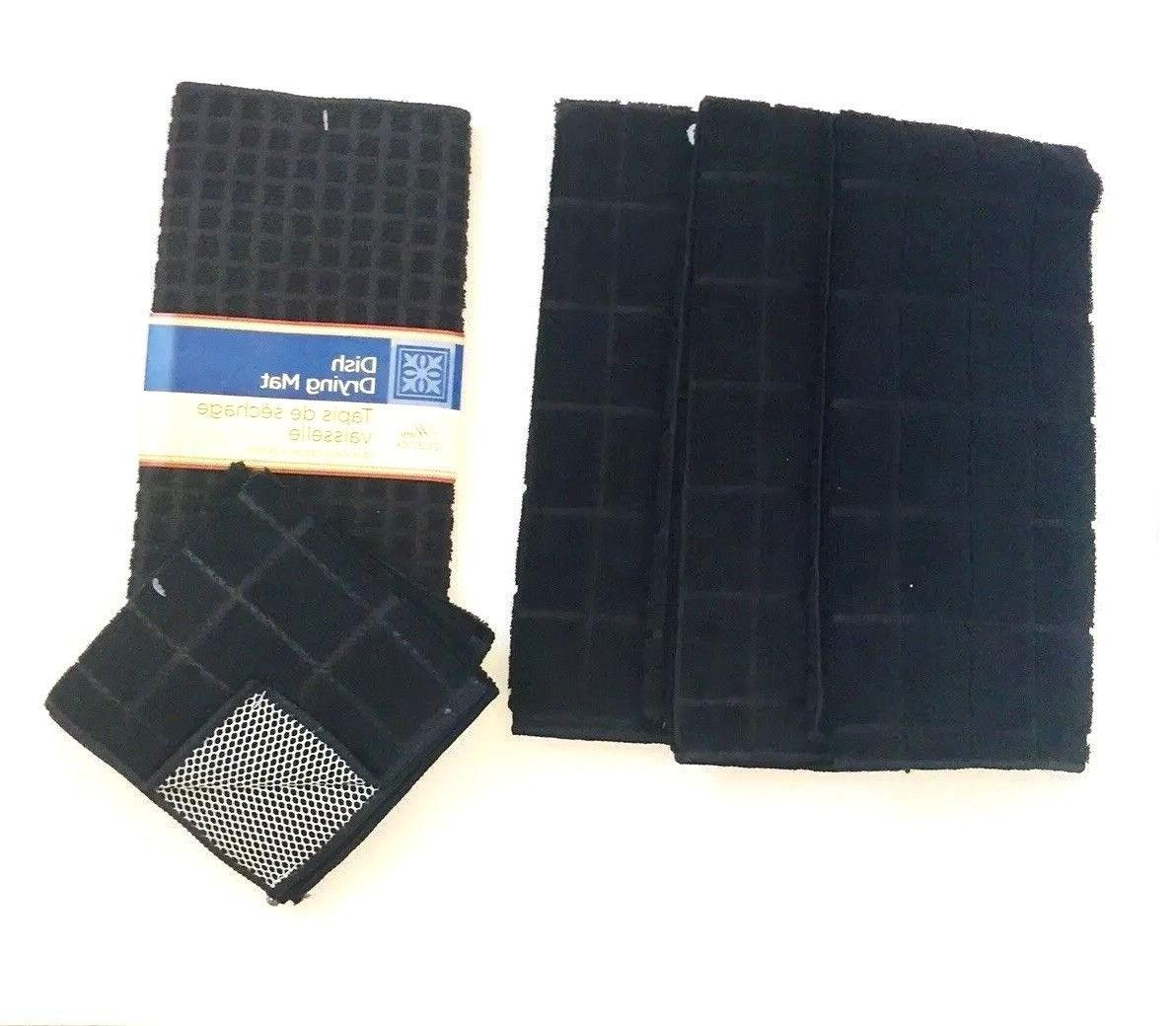 Kitchen Towels Dishcloths Mat of New Solid Black