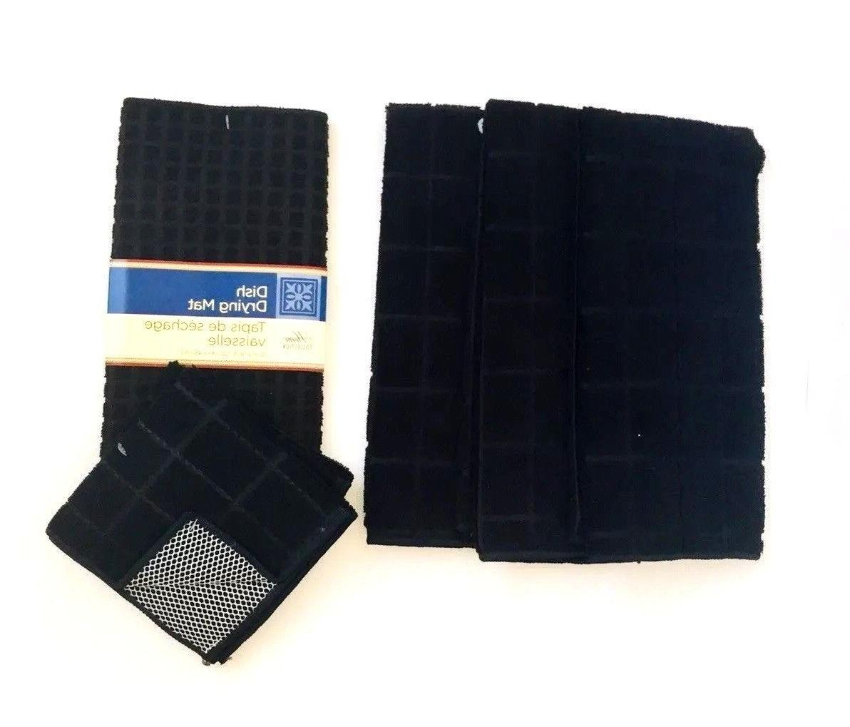 Kitchen Dish Hand 3 Towels Mat Set of New Black