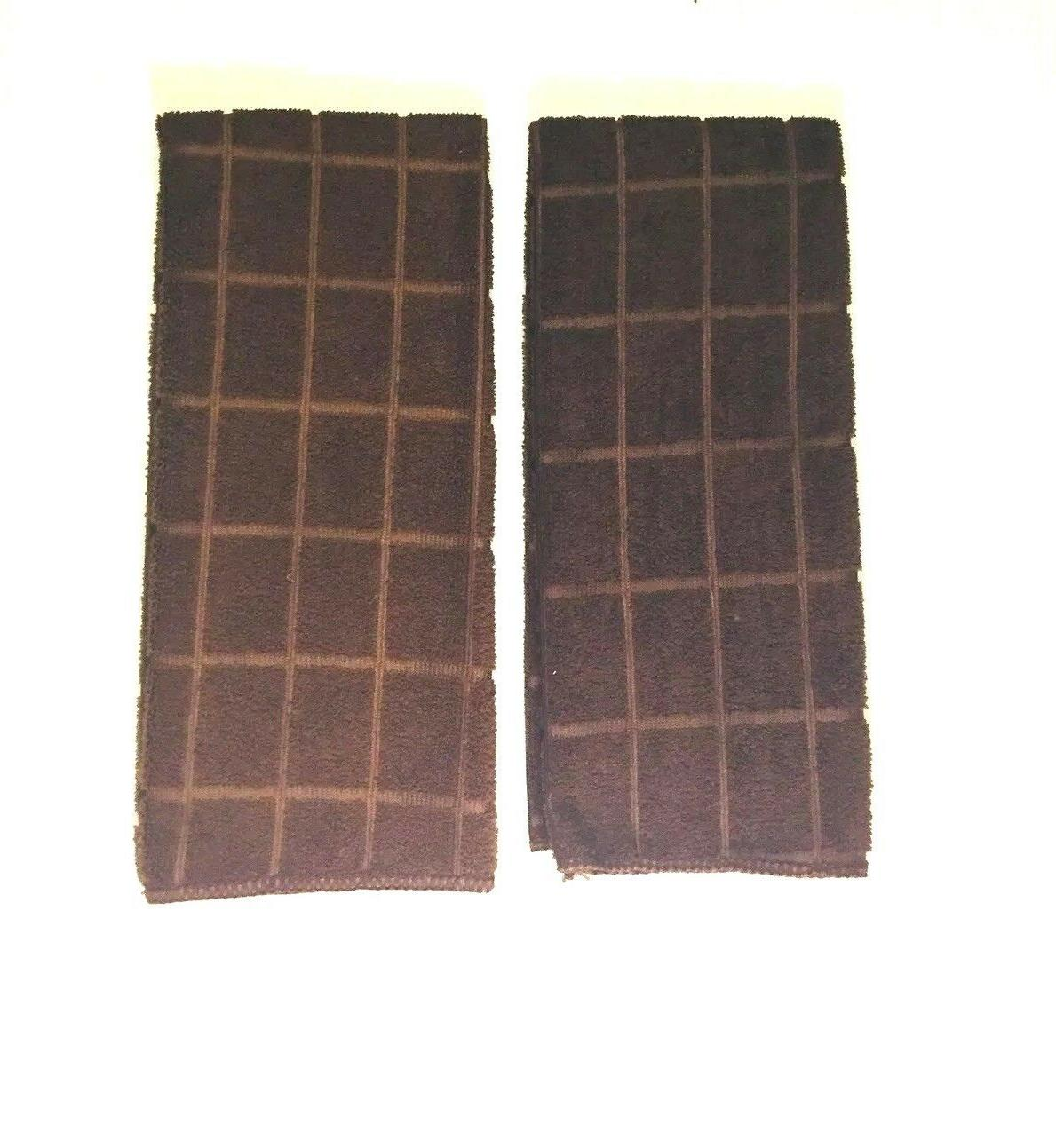 Kitchen Dish Towels Solid Brown of 2 x