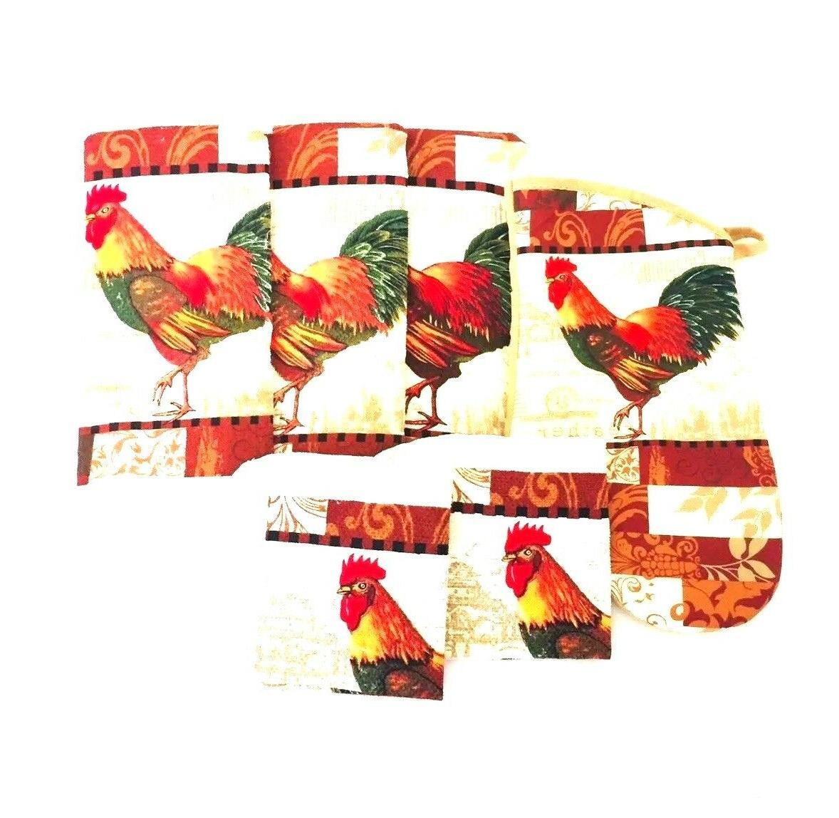 Kitchen Dish Hand Wash Rags & Mitt Rooster
