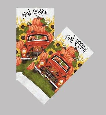 Kitchen Towels Set 2 Truck Pumpkins Sunflowers