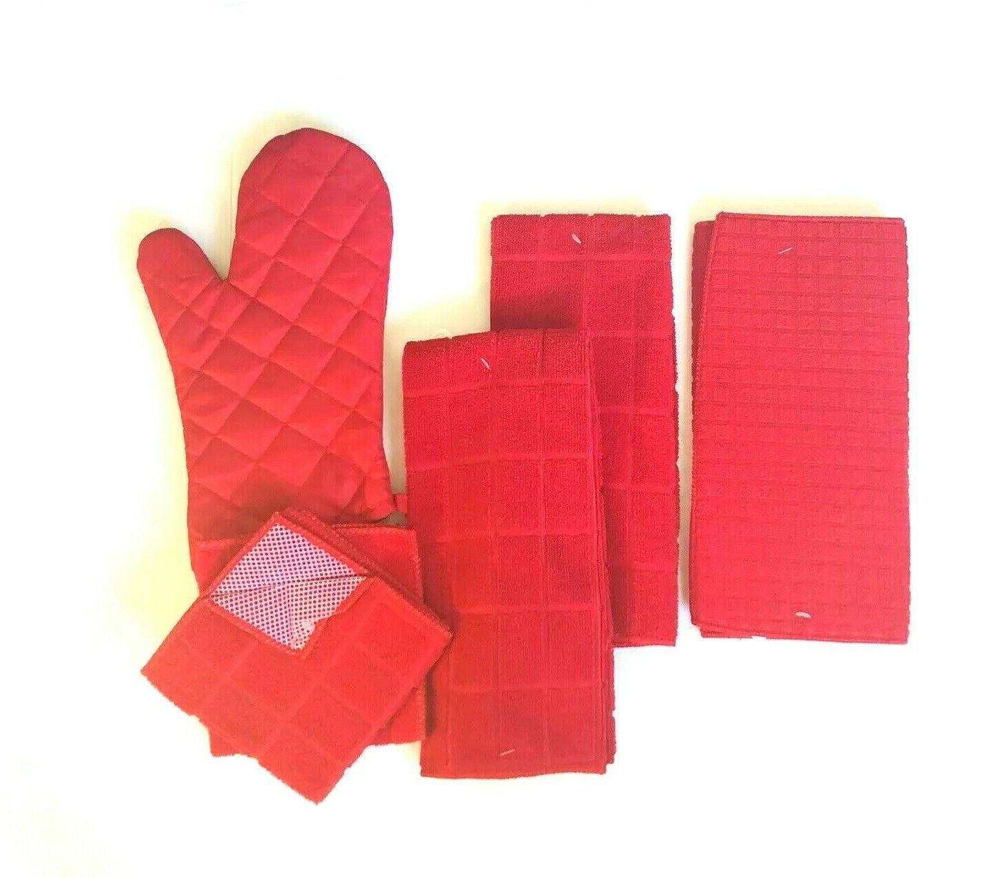 Kitchen Hand 2 Towels 2 Dishcloths Drying Oven Mitt Set of