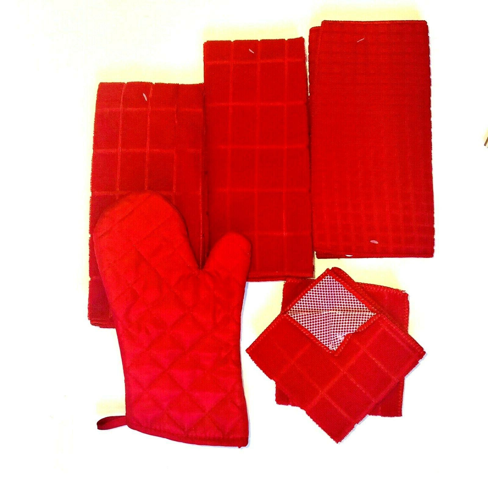 Kitchen 2 Oven Mitt Solid Red Set New