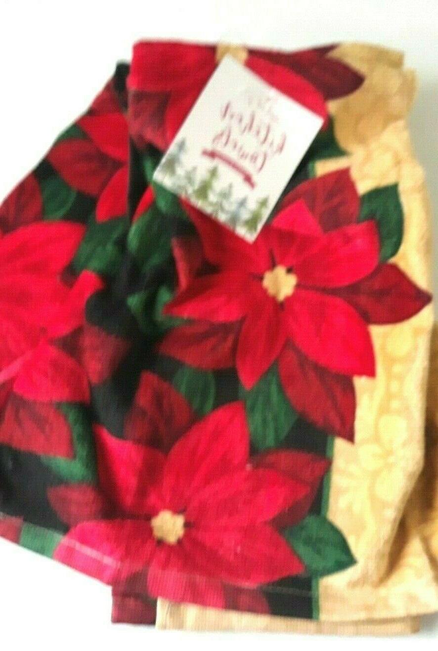 "Kitchen dish Set of 16""x26"" Poinsettia Kitchen towels"