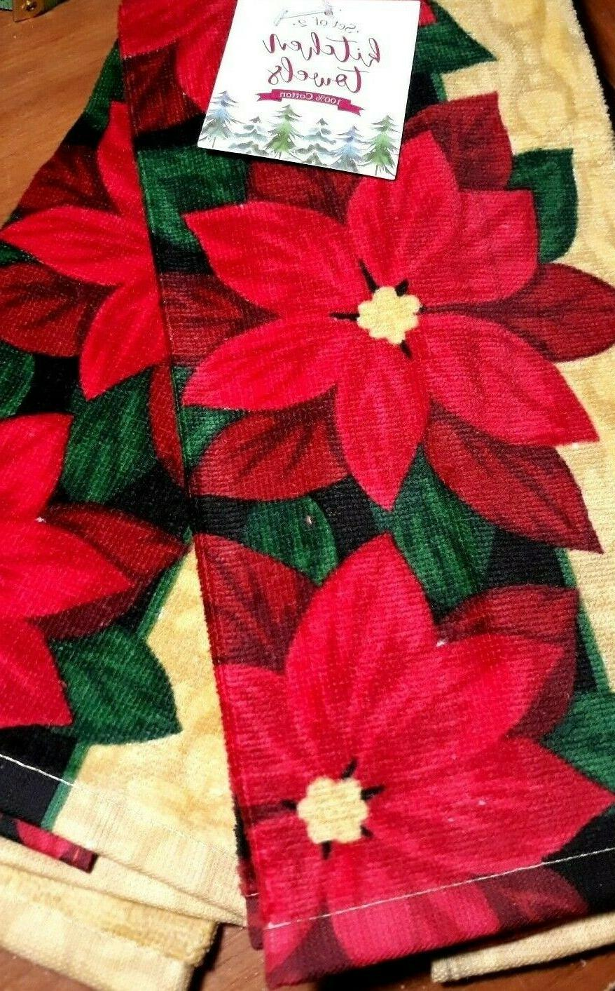 Kitchen hand dish Towels Set of Poinsettia towels