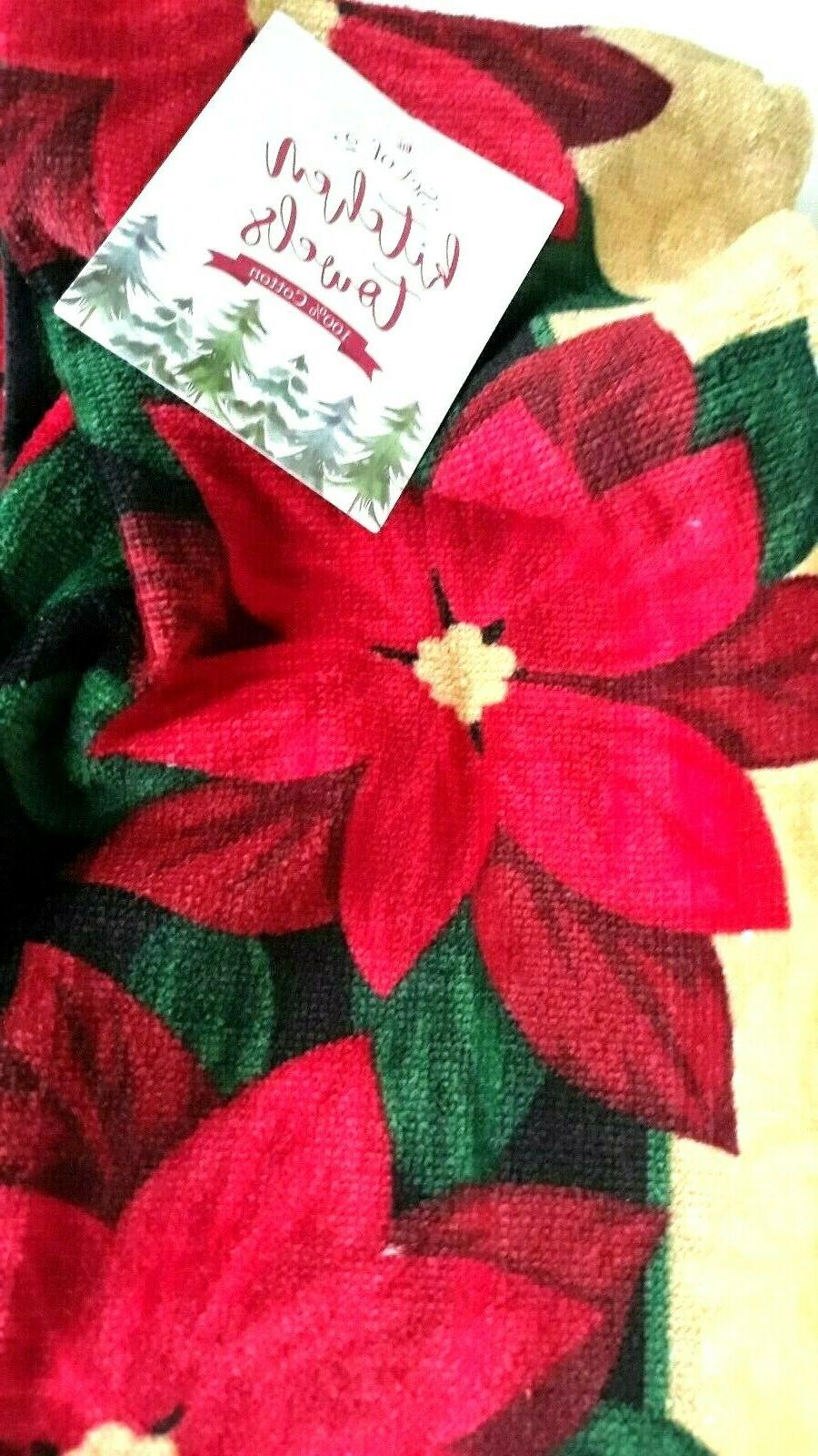 Kitchen hand dish Towels Set of 2 Poinsettia towels