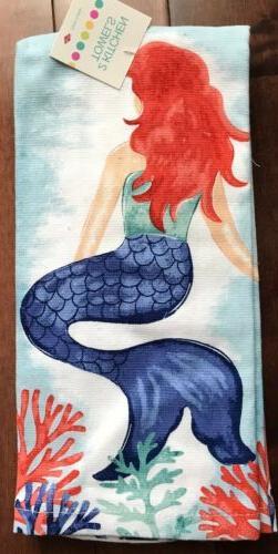 kitchen hand towels set of 2 mermaid