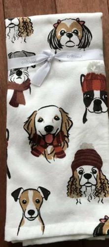 Kassafina Home Kitchen Towels WINTER DOGS