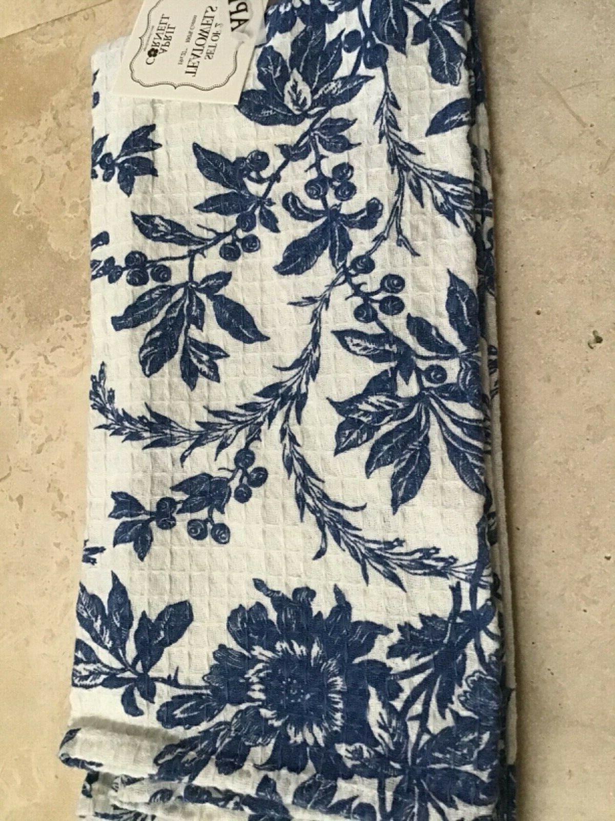 APRIL CORNELL KITCHEN TOWELS WHITE FLORAL COTTON