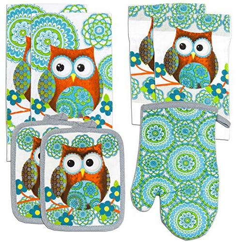 kitchen towel linen owl turquoise