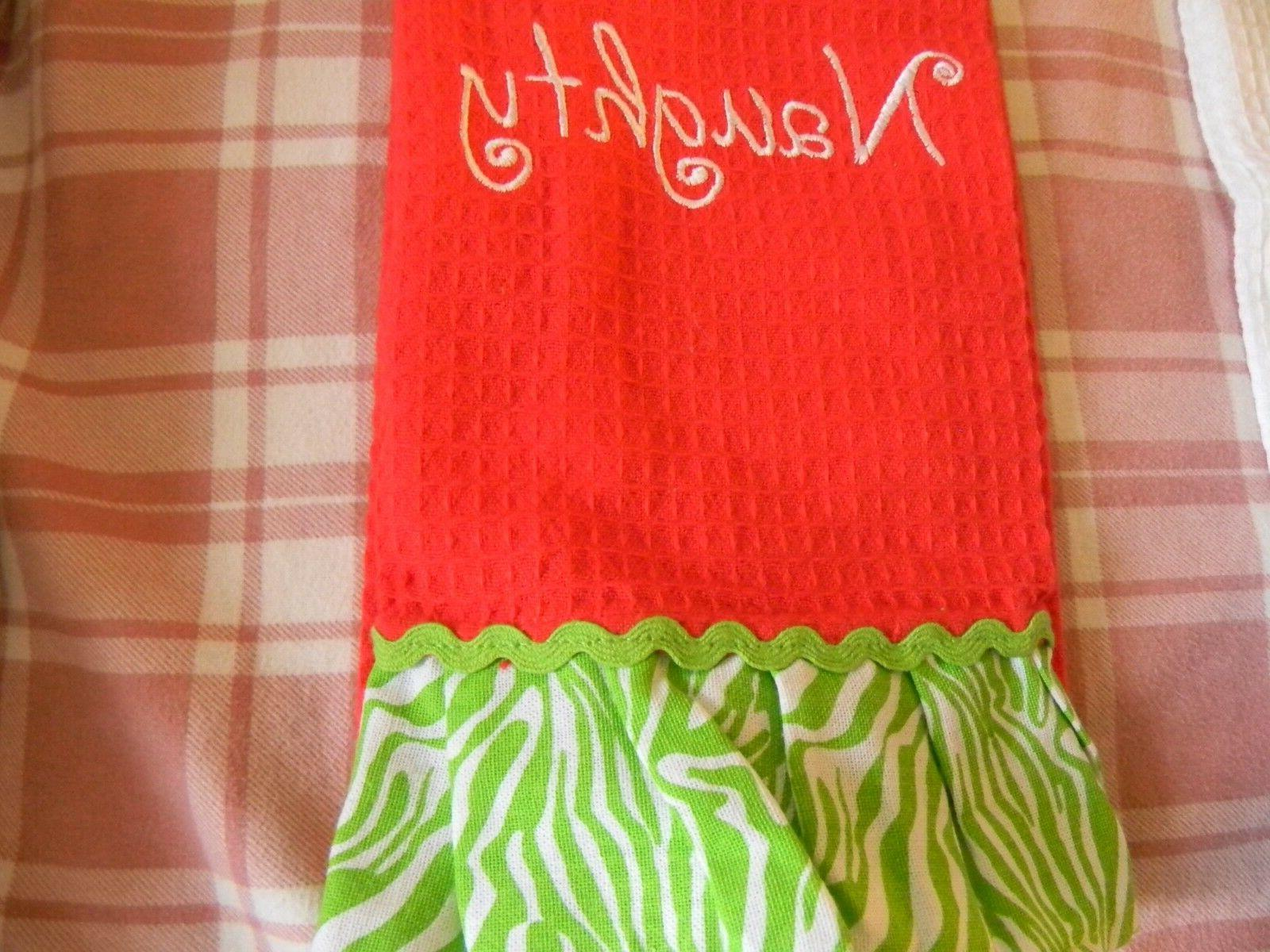 Kitchen towel satin embroidery NAUGHTY red to hang
