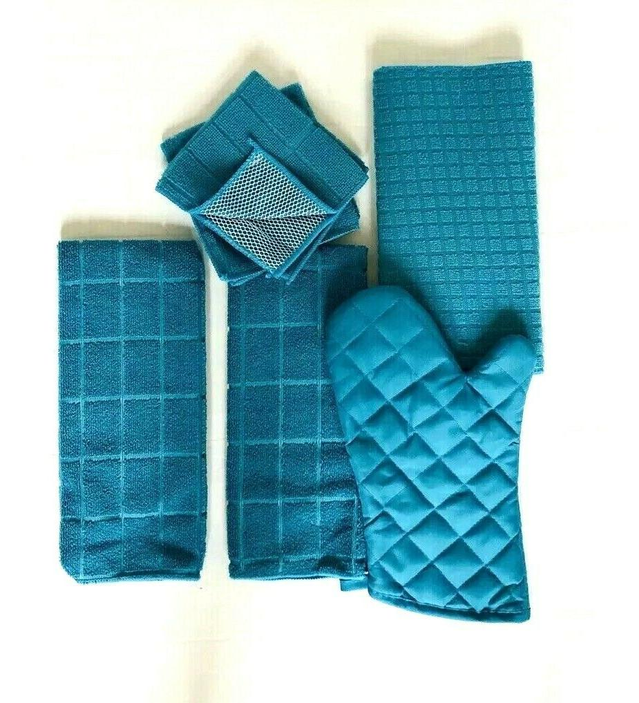 Kitchen Set of 6 Drying Mitt Towels 2 Turquoise