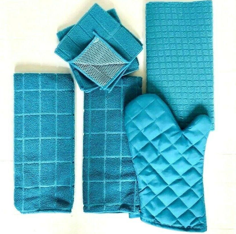 Kitchen Towel of 6 Drying Mitt Hand 2 Turquoise