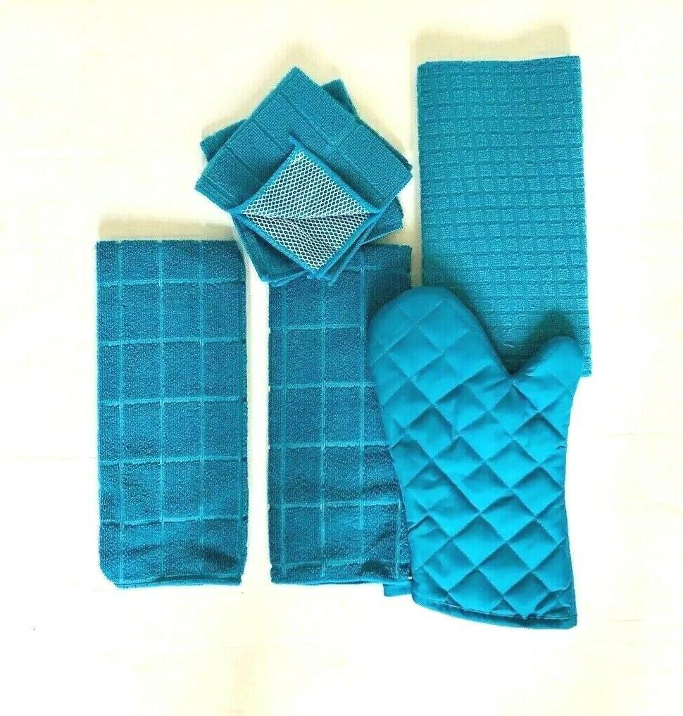 Kitchen of 6 Drying Mitt Hand 2 Dishcloths Turquoise