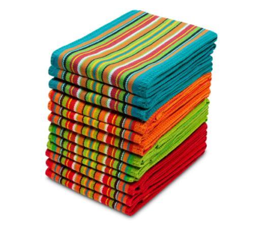 kitchen towel set salsa stripe multi color